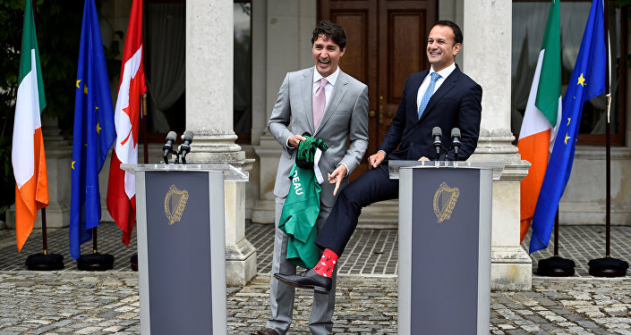 Canada's Prime Minister Justin Trudeau speaks at a press conference with Taoiseach Leo Varadkar at Farmleigh House, Dublin, Ireland July 4, 2017.