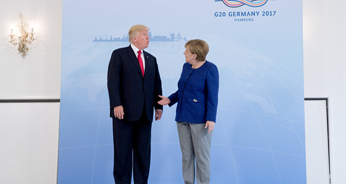 German Chancellor Angela Merkel meets U.S. President Donald Trump on the eve of the G-20 summit in Hamburg, Germany, July 6, 2017