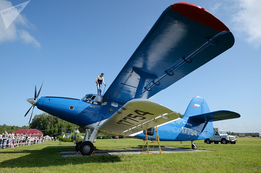 The AN-2-110 aircraft with Honeywell turboprop TPE-331-12 engines at the Mochishche airfield after modernization at the Chaplygin Siberian Aeronautical Research Institute