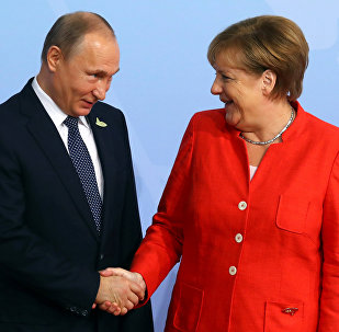 German Chancellor Angela Merkel greets Russian President Vladimir Putin as he arrives for the G20 leaders summit in Hamburg, Germany July 7, 2017