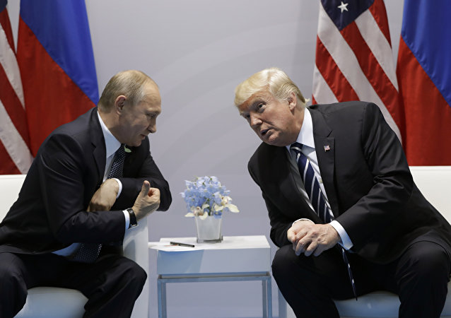 President Donald Trump meets with Russian President Vladimir Putin at the G20 Summit, Friday, July 7, 2017, in Hamburg