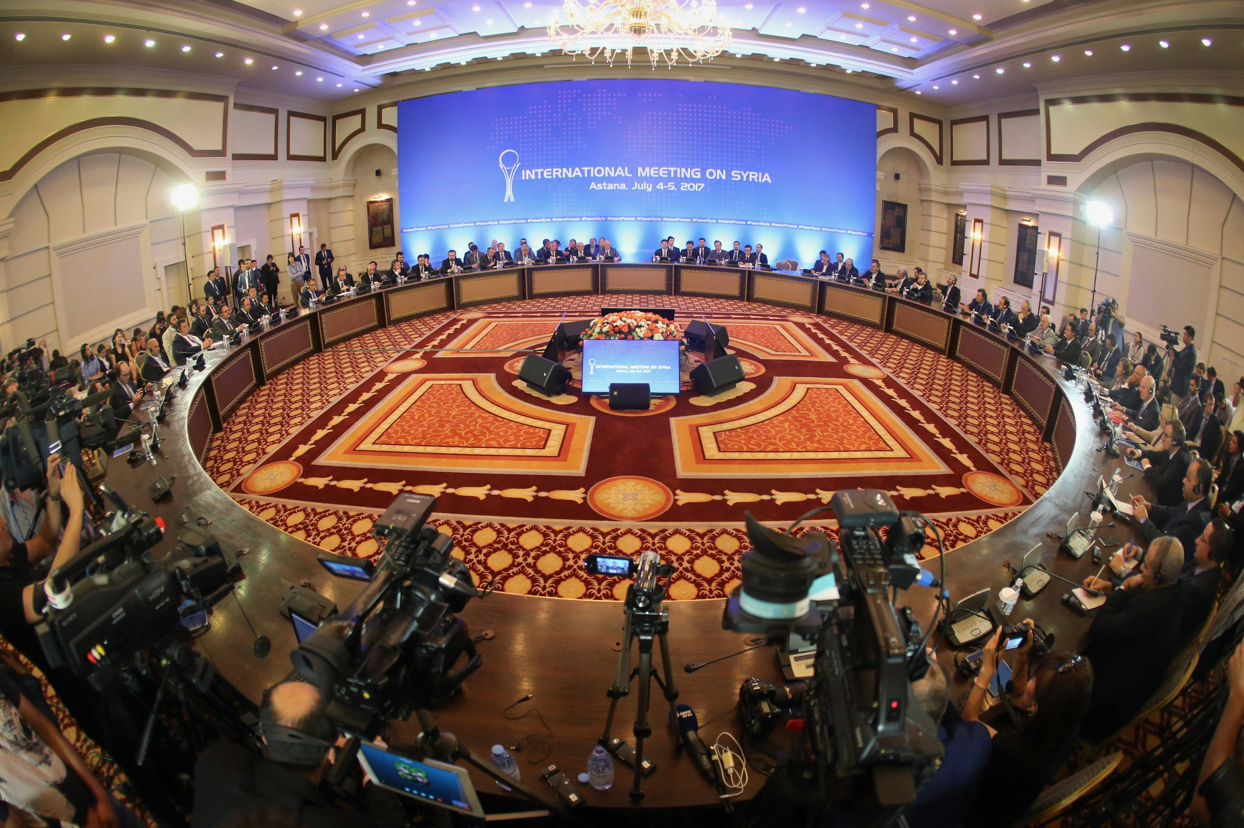 A picture shows a general view during a fifth round of Syria peace talks on July 5, 2017, in Astana
