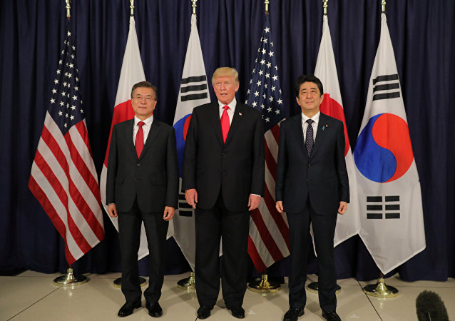 U.S. President Donald Trump meets South Korea's President Moon Jae-In and Japanese Prime Minister Shinzo Abe ahead the G20 leaders summit in Hamburg, Germany July 6, 2017