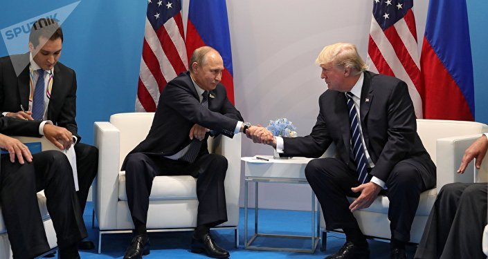 Russian President Vladimir Putin and President of the USA Donald Trump right talk during their meeting on the sidelines of the G20 summit in Hamburg