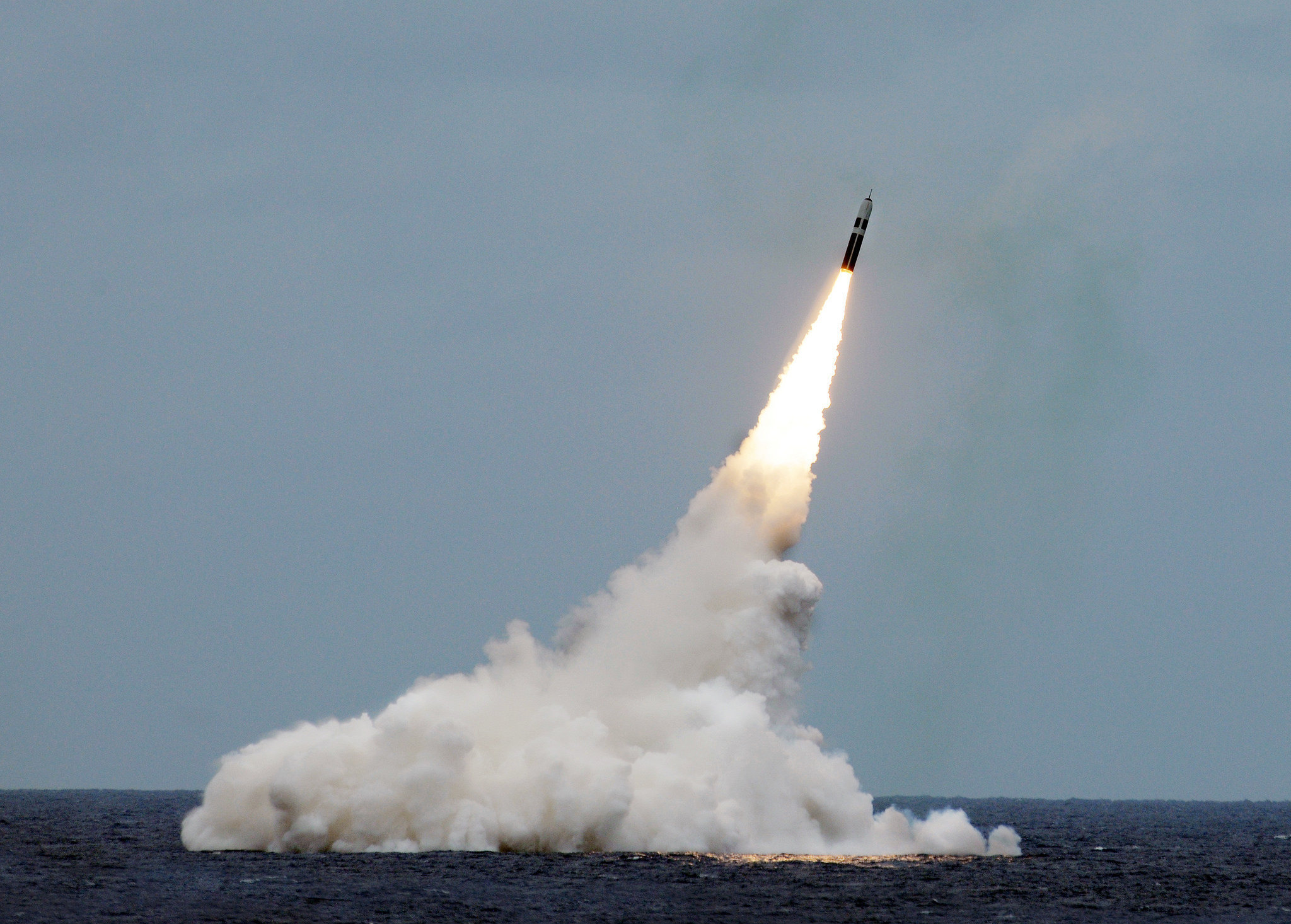 ATLANTIC OCEAN (August 31, 2016) An unarmed Trident II D5 missile launches from the Ohio-class fleet ballistic-missile submarine USS Maryland (SSBN 738) off the coast of Florida. The test launch was part of the U.S. Navy Strategic Systems Programs demonstration and shakedown operation certification process