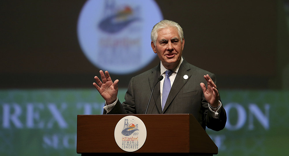 U.S. Secretary of State Rex Tillerson gestures as he delivers a speech at the World Petroleum Congress, being hosted by Turkey, in Istanbul, Sunday , July 9, 2017