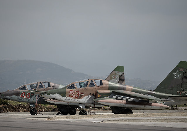 Russian Su-25 attack planes at the Hmeimim airbase in the Latakia Governorate of Syria.