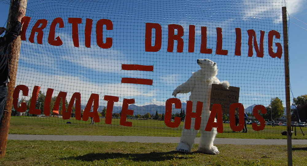 Protesters gather at Park Strip to demonstrate against Shell oil August 31, 2015 near the Dena'ina Convention Center, in Anchorage, Alaska.