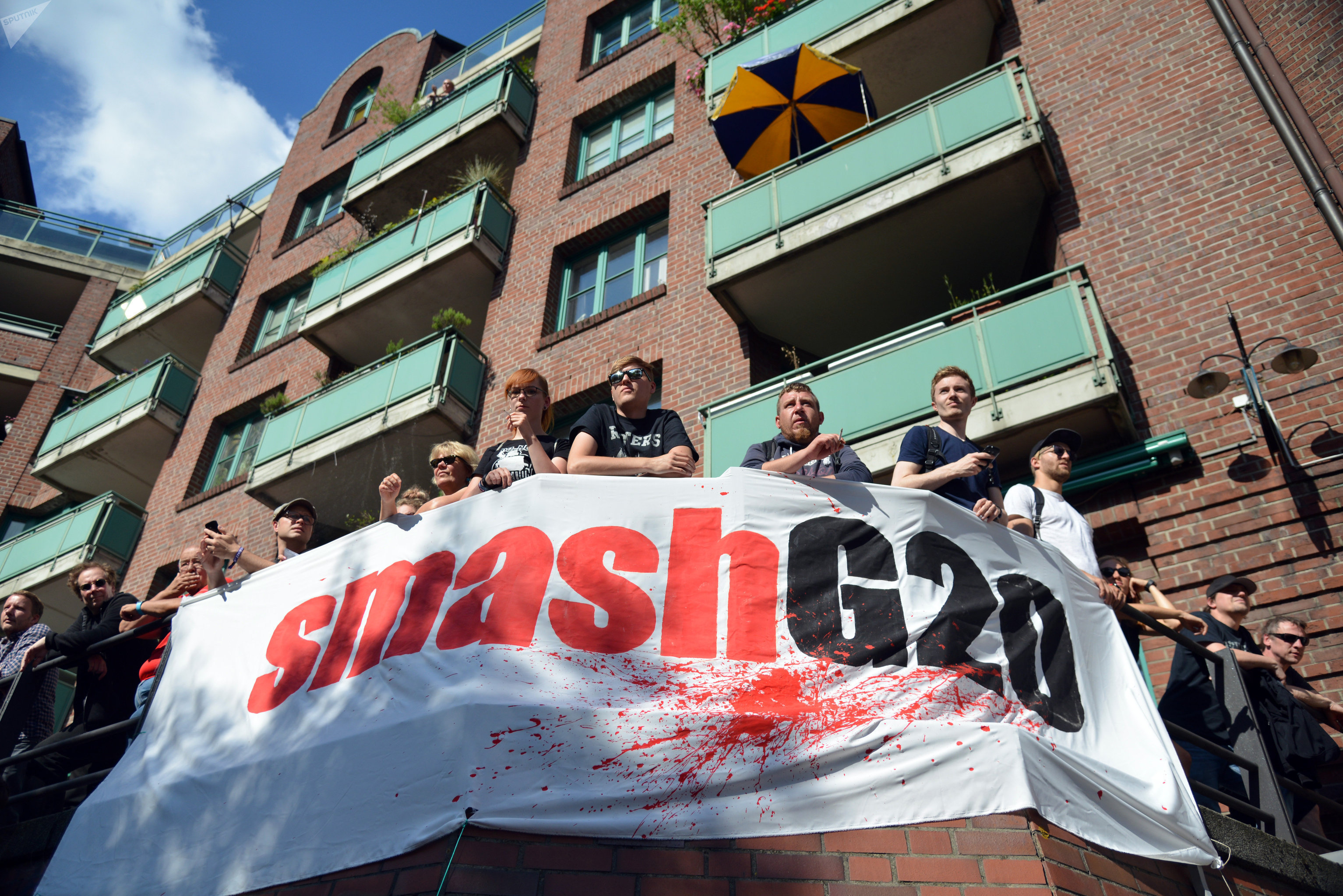 Participants in the protest rally ahead of the G20 Summit In Hamburg