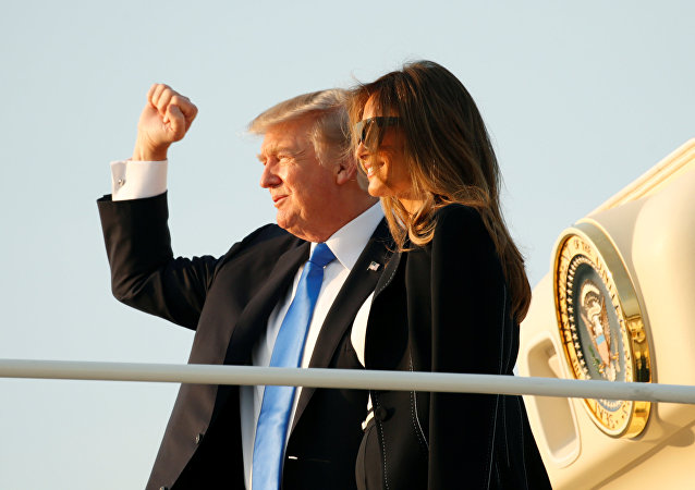 U.S. President Donald Trump and first lady Melania Trump board Air Force One as they depart Joint Base Andrews in Maryland, U.S., enroute to Paris July 12, 2017.