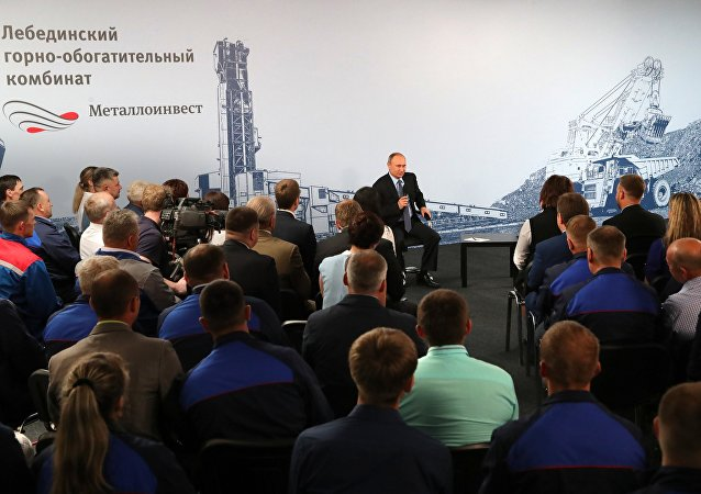 July 14, 2017. Russian President Vladimir Putin meets with the employees of Lebedinsky Mining and Processing Combine (Metalloinvest MC LLC) in the Belgorod Region