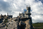Swallow's Nest Castle on top of a coastal cliff in Crimea's Gaspra town