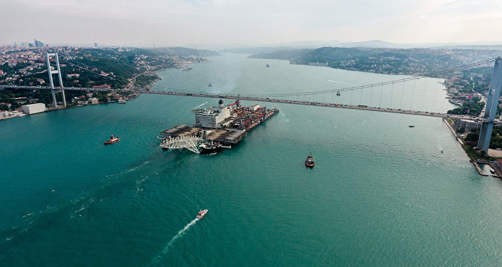 The Pioneering Spirit vessel passing through the Bosphorus to work on the TurkStream Offshore Gas Pipeline