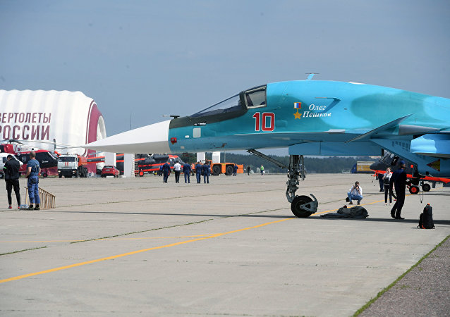 SU-34 bomber on a field during preparations for the opening of the Maks 2017 International Aviation and Space Salon in Zhukovsky.