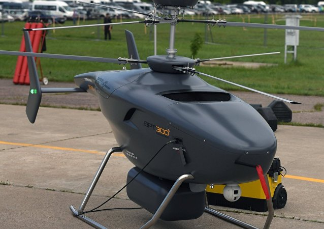 The VRT-300, the first Russian-made unmanned helicopter, on display at the International Aviation and Space Salon MAKS-2017 in Zhukovsky near Moscow.
