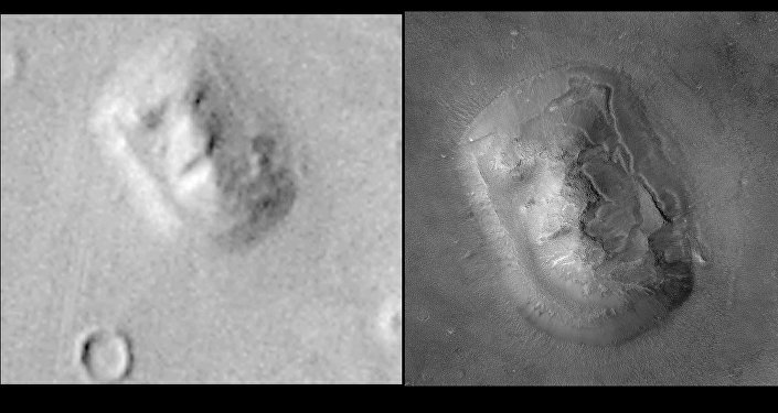 This composite image released by NASA 24 May, 2001 shows a new high resolution image of the Face on Mars (R) alongside an early Viking Spacecraft image (L).