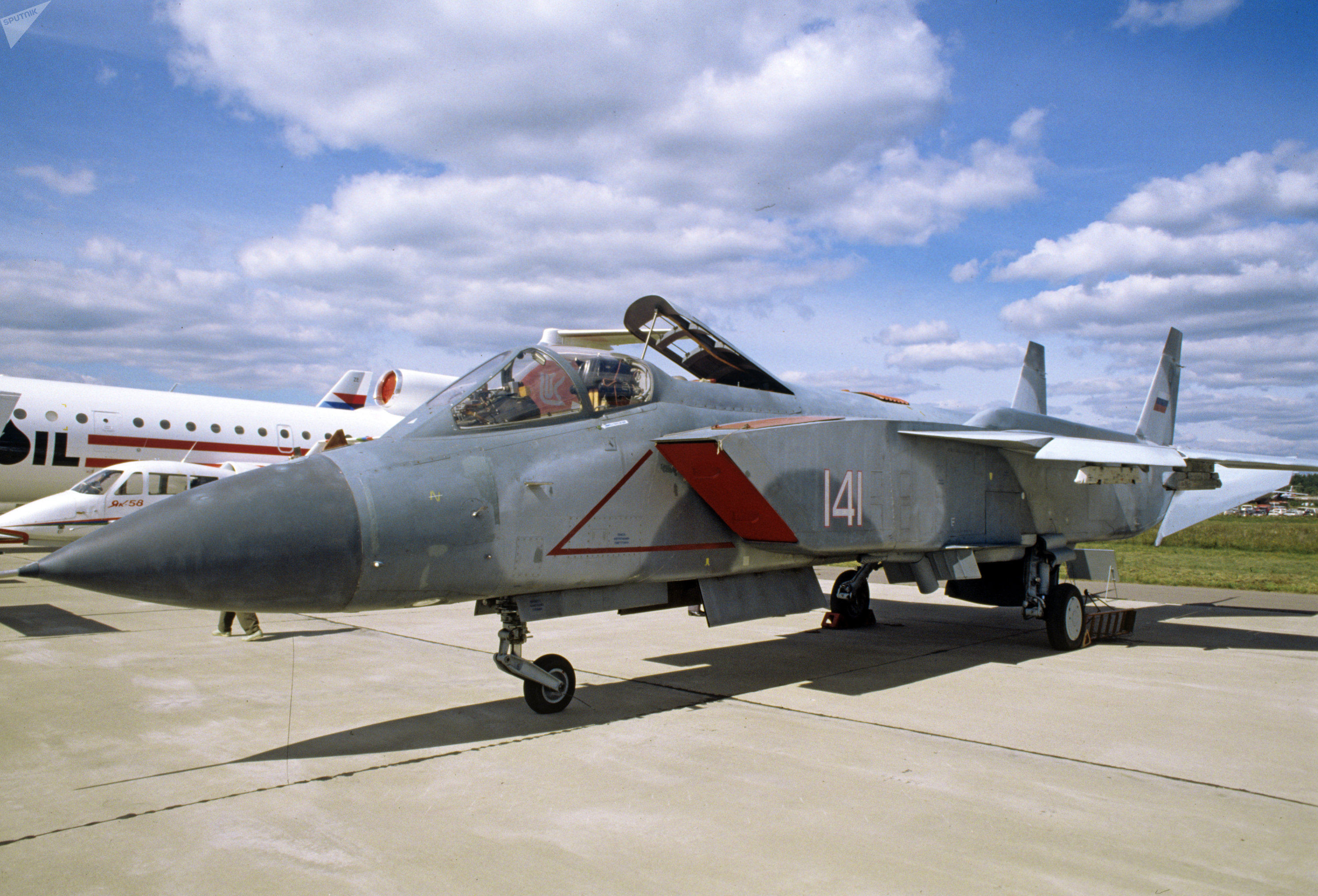 Yakovlev Yak-141 on display at the MAKS-95 airshow outside Moscow in August 1995.