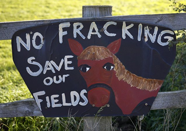 An anti fracking sign hangs on a fence near the village of Roseacre, northern England, October 6, 2016. The British government approved a new shale gas fracking permit on Thursday, overruling a local authority decision and boosting Britain's position as Europe's most promising shale gas exploration ground.