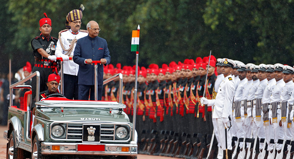 India's new President Ram Nath Kovind inspects an honour guard after being sworn in at the Rashtrapati Bhavan presidential palace in New Delhi, India July 25, 2017
