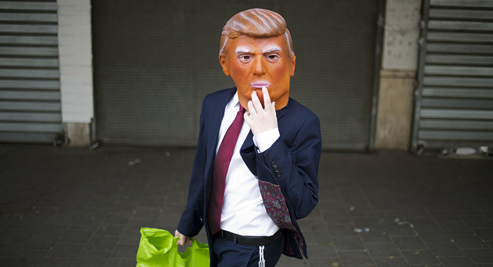 A mask of US President Donald Trump