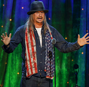 Kid Rock inducts rock band Cheap Trick at the 31st annual Rock and Roll Hall of Fame Induction Ceremony at the Barclays Center in Brooklyn, New York, US on April 8, 2016.