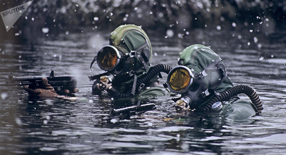 Naval inshore undersea detachment warriors carrying out the operational mission. The Northern fleet of the Russian Federation.