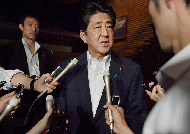 Japanese Prime Minister Shinzo Abe speaks to reporters about North Korea's missile launch in Tokyo, Japan.