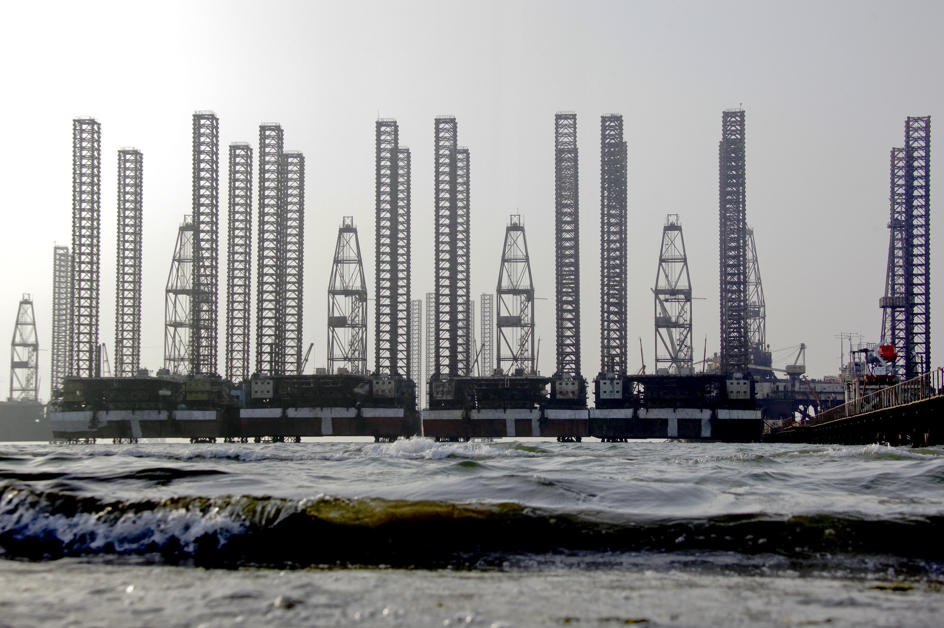 Oil platforms in the Caspian Sea