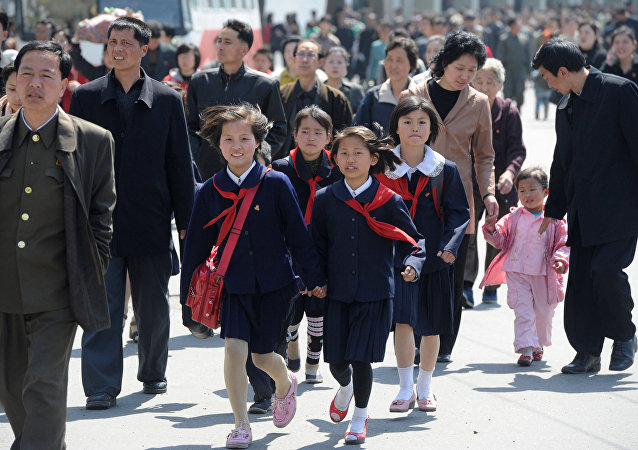 City residents in the center of Pyongyang