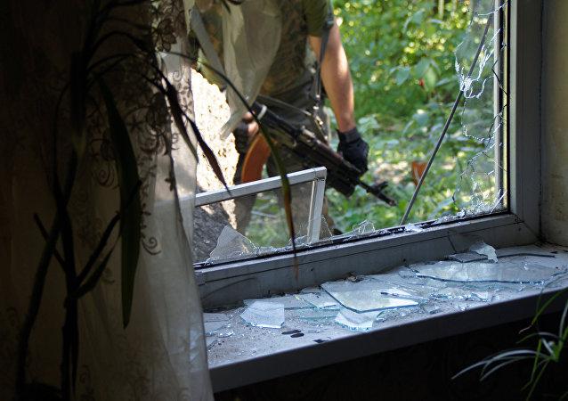 A residential building in Kirovsk, Lugansk Region, damaged by shelling