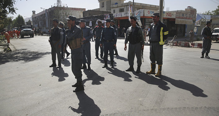 Policemen stand guard in Kabul, Afghanistan, Monday, July 24, 2017