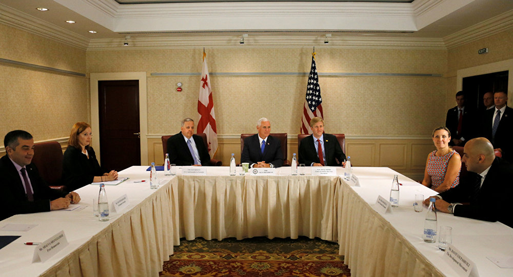 U.S. Vice President Mike Pence (C), Chief of Staff to the Vice President Nick Ayers (center R) and U.S. Ambassador to Georgia Ian Kelly (center L) attend a meeting with Georgian opposition leaders in Tbilisi, Georgia, August 1, 2017