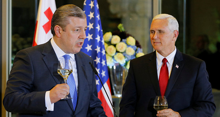 Georgian Prime Minister Georgy Kvirikashvili and U.S. Vice President Mike Pence attend an official dinner in Tbilisi, Georgia July 31, 2017