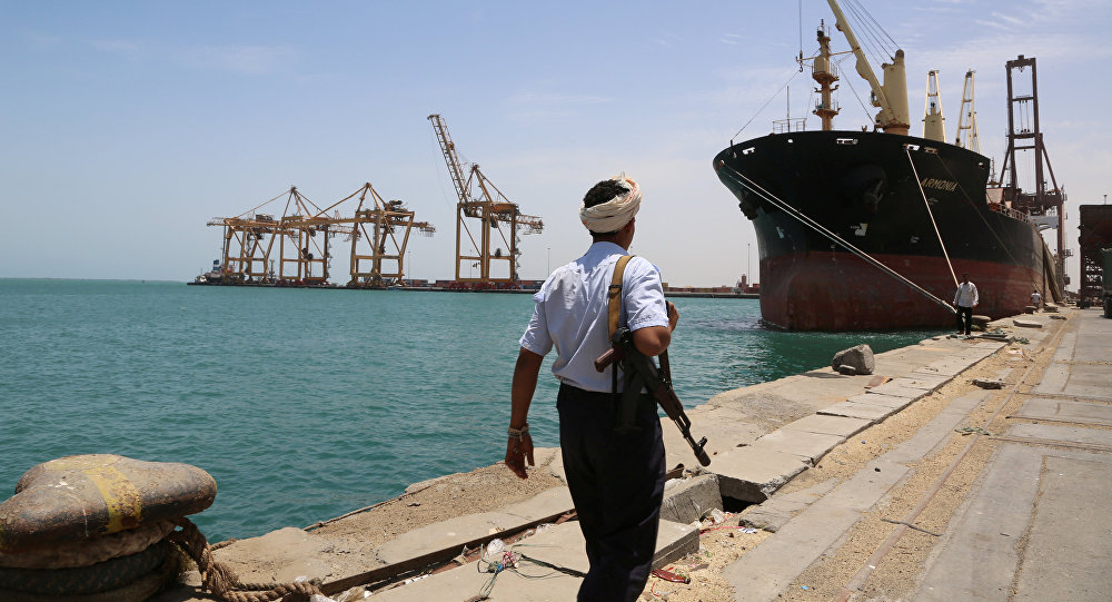 A soldier walks at Red Sea port of Hodeidah, Yemen May 10, 2017