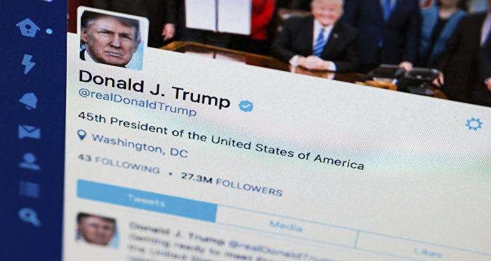President Donald Trump's tweeter feed is photographed on a computer screen in Washington, Monday. April 3, 2017