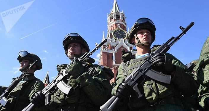 Military personnel during the Paratroopers' Day celebration on Red Square in Moscow