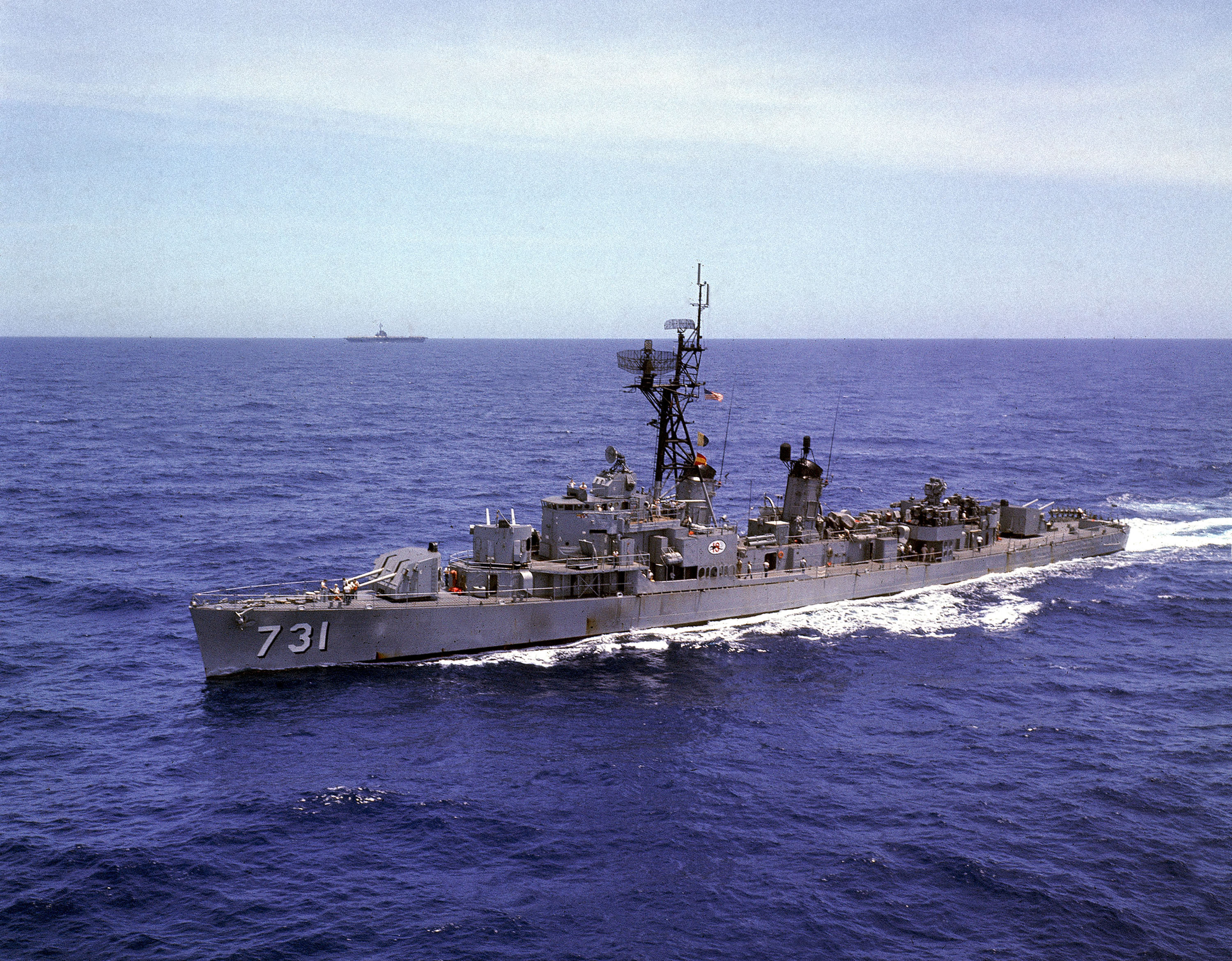 The U.S.S. Maddox is shown in the North China Sea in Aug. 1966