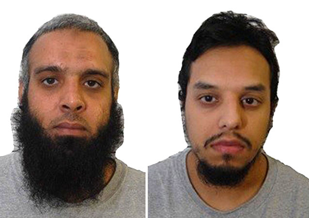 A composite of four undated images issued Wednesday Aug.2, 2017, by Britain's West-Midlands Police, showing left to right: Tahir Aziz, Naweed Ali, Mohibur Rahman and Khobaib Hussain who have been found guilty of preparing terrorist acts, following a partly-secret trial at the Old Bailey in London Wednesday Aug. 2, 2017.