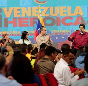 Venezuela's President Nicolas Maduro (2nd R) speaks during a meeting with members of the Constituent Assembly in Caracas, Venezuela August 2, 2017.