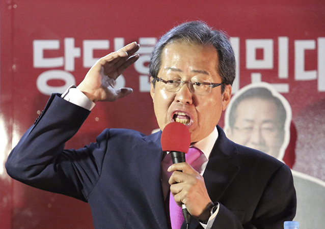 South Korean presidential candidate Hong Joon-pyo of the Liberty Korea Party speaks during an election campaign in Seoul, South Korea, Monday, May 8, 2017
