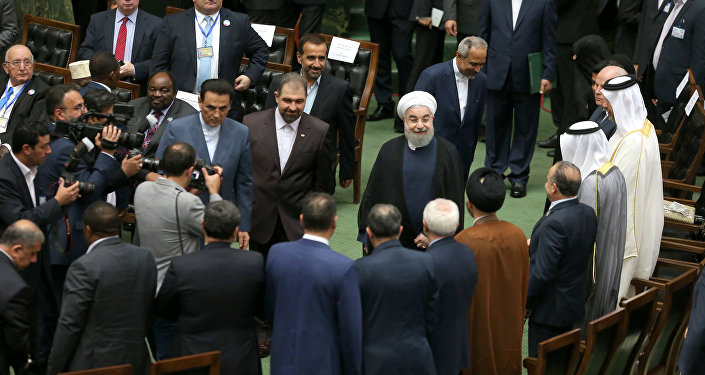 Iranian president Hassan Rouhani arrives for his swearing-in ceremony for a further term, at the parliament in Tehran, Iran, August 5, 2017