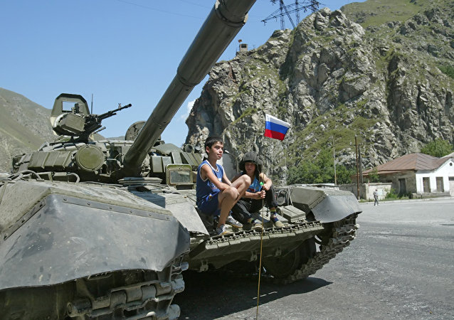 A Russian tank in a suburb of Tskhinvali. File photo
