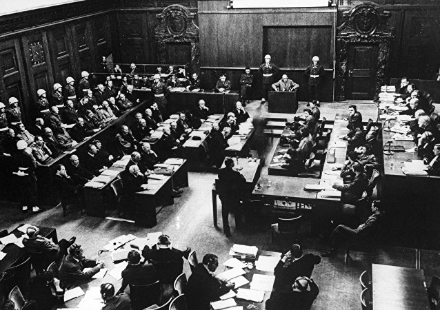 Reproduction of the 1946 photo. A session of the International Military Tribunal during the Nuremberg Trials. Germany. The Great Patriotic War of 1941-1945.