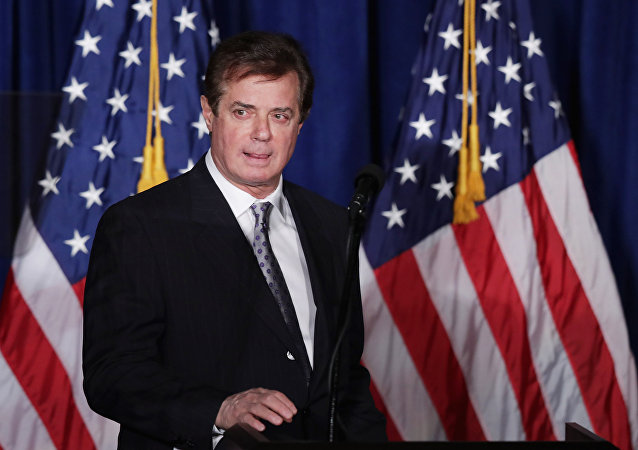 Paul Manafort, former advisor to Republican presidential candidate Donald Trump's campaign, as he checks the teleprompters before Trump's speech at the Mayflower Hotel in Washington, DC. (File)