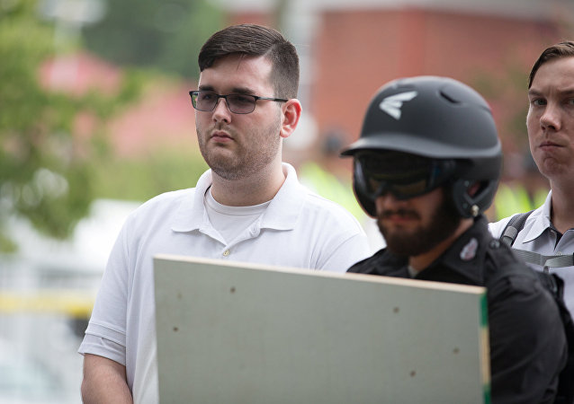 Galerry  counter protester at pro white rally identified as James Alex Fields