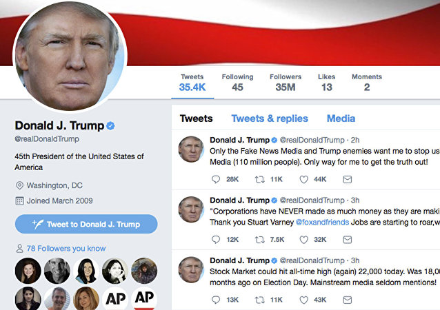 This frame grab shows part of the Twitter page of US President Donald Trump.