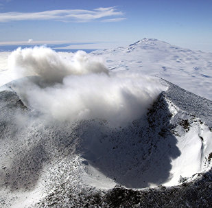 Aerial view of Mount Erebus craters in the foreground with Mount Terror in the background, Ross Island, Antarctica