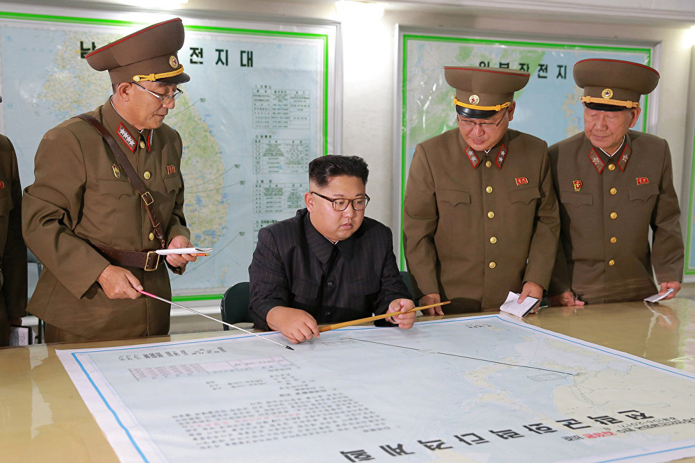 North Korean leader Kim Jong Un visits the Command of the Strategic Force of the Korean People's Army (KPA) in an unknown location in North Korea in this undated photo released by North Korea's Korean Central News Agency (KCNA) on August 15, 2017