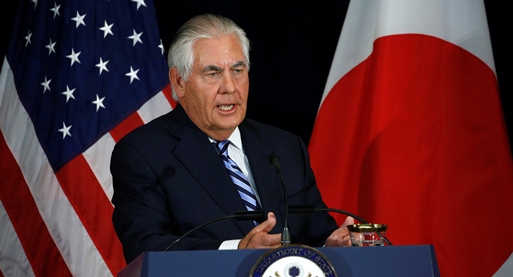 U.S. Secretary of State Rex Tillerson, with his Japanese counterparts, addresses a news conference after their U.S.-Japan Security talks at the State Department in Washington, U.S., August 17, 2017