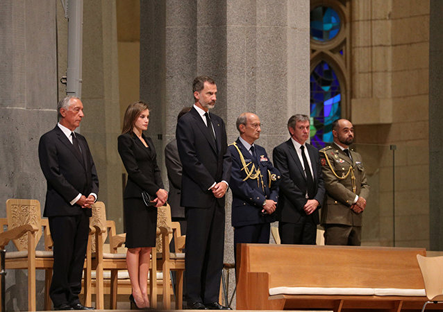 Portugese president Marcelo Rebelo de Sousa and King Felipe of Spain with his wife Letizia are seen as High mass is celebrated in the Basilica of the Sagrada Familia in memory of the victims of the van attack at Las Ramblas in Barcelona earlier this week, Spain August 20, 2017.